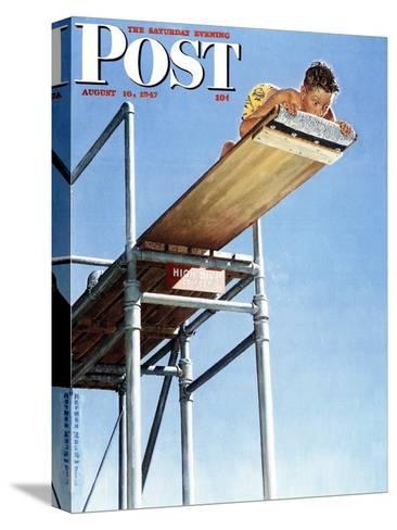 """Boy on High Dive"" Saturday Evening Post Cover, August 16,1947-Norman Rockwell-Stretched Canvas Print"