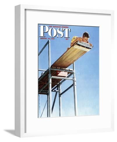 """Boy on High Dive"" Saturday Evening Post Cover, August 16,1947-Norman Rockwell-Framed Art Print"