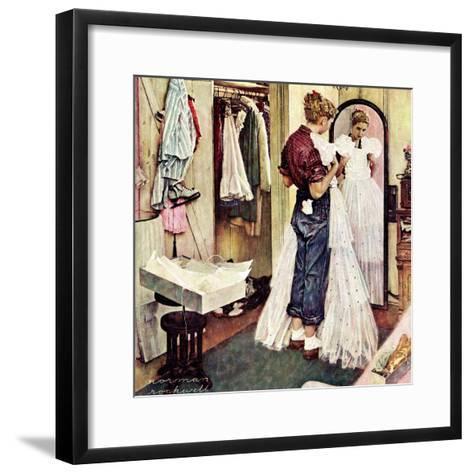 """Prom Dress"", March 19,1949-Norman Rockwell-Framed Art Print"