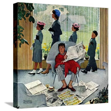 """""""Sunday Morning"""", May 16,1959-Norman Rockwell-Stretched Canvas Print"""