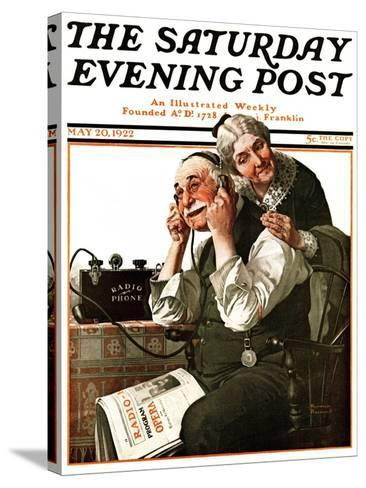 """""""Wonders of Radio"""" or """"Listen, Ma!"""" Saturday Evening Post Cover, May 20,1922-Norman Rockwell-Stretched Canvas Print"""