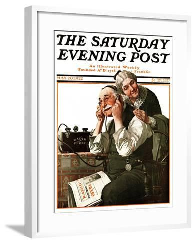 """""""Wonders of Radio"""" or """"Listen, Ma!"""" Saturday Evening Post Cover, May 20,1922-Norman Rockwell-Framed Art Print"""