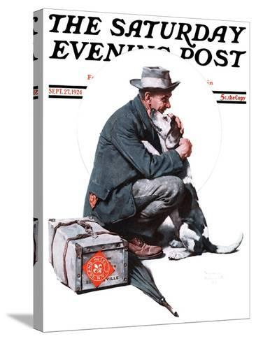 """""""Man and Dog"""" or """"Pals"""" Saturday Evening Post Cover, September 27,1924-Norman Rockwell-Stretched Canvas Print"""