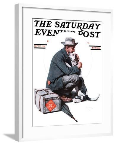 """""""Man and Dog"""" or """"Pals"""" Saturday Evening Post Cover, September 27,1924-Norman Rockwell-Framed Art Print"""