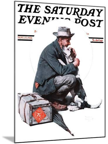 """""""Man and Dog"""" or """"Pals"""" Saturday Evening Post Cover, September 27,1924-Norman Rockwell-Mounted Giclee Print"""