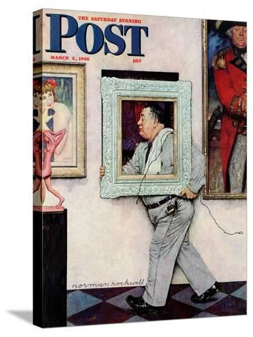 """Picture Hanger"" or ""Museum Worker"" Saturday Evening Post Cover, March 2,1946-Norman Rockwell-Stretched Canvas Print"