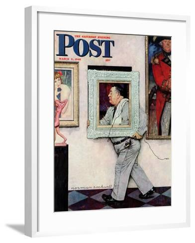 """Picture Hanger"" or ""Museum Worker"" Saturday Evening Post Cover, March 2,1946-Norman Rockwell-Framed Art Print"