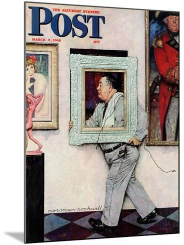 """Picture Hanger"" or ""Museum Worker"" Saturday Evening Post Cover, March 2,1946-Norman Rockwell-Mounted Giclee Print"