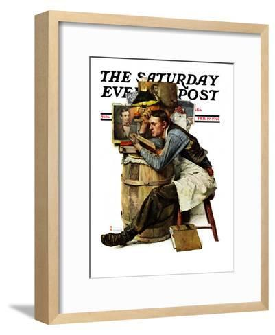 """Law Student"" Saturday Evening Post Cover, February 19,1927-Norman Rockwell-Framed Art Print"