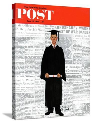 """""""Graduate"""" Saturday Evening Post Cover, June 6,1959-Norman Rockwell-Stretched Canvas Print"""