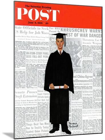 """""""Graduate"""" Saturday Evening Post Cover, June 6,1959-Norman Rockwell-Mounted Giclee Print"""