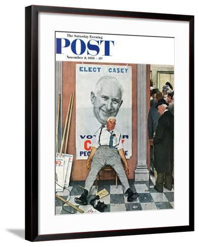 """Elect Casey"" or ""Defeated Candidate"" Saturday Evening Post Cover, November 8,1958-Norman Rockwell-Framed Art Print"
