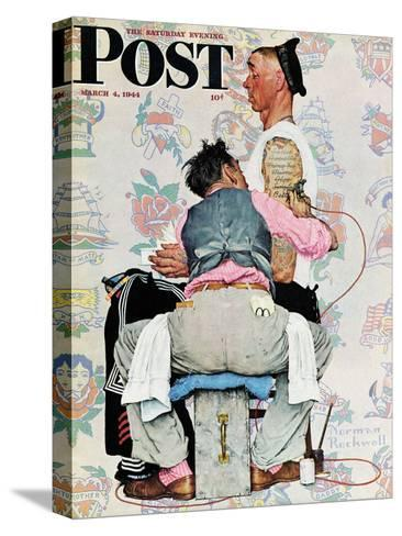 """Tattoo Artist"" Saturday Evening Post Cover, March 4,1944-Norman Rockwell-Stretched Canvas Print"