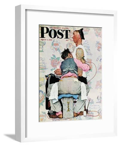 """Tattoo Artist"" Saturday Evening Post Cover, March 4,1944-Norman Rockwell-Framed Art Print"