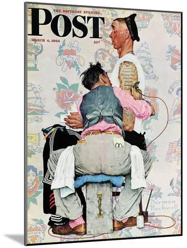 """Tattoo Artist"" Saturday Evening Post Cover, March 4,1944-Norman Rockwell-Mounted Giclee Print"