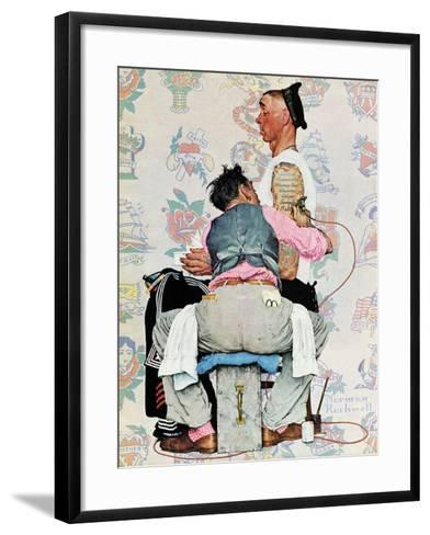 """Tattoo Artist"", March 4,1944-Norman Rockwell-Framed Art Print"