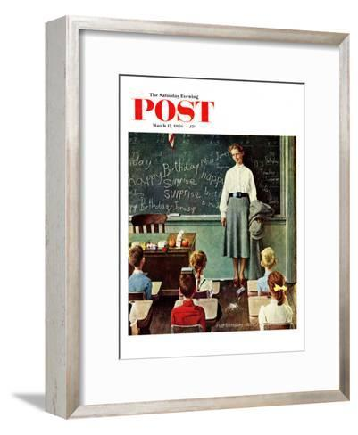 """Happy Birthday, Miss Jones"" Saturday Evening Post Cover, March 17,1956-Norman Rockwell-Framed Art Print"