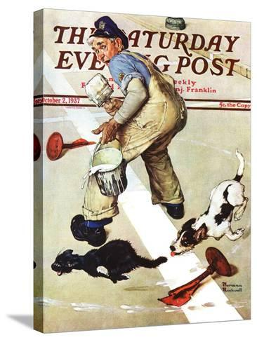 """""""Spilled Paint"""" Saturday Evening Post Cover, October 2,1937-Norman Rockwell-Stretched Canvas Print"""