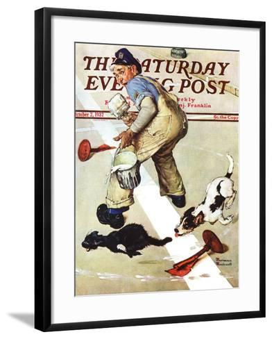 """""""Spilled Paint"""" Saturday Evening Post Cover, October 2,1937-Norman Rockwell-Framed Art Print"""