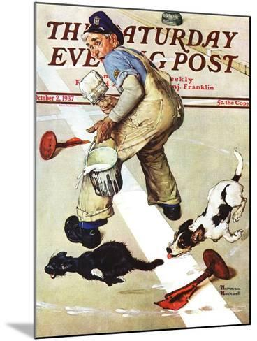 """""""Spilled Paint"""" Saturday Evening Post Cover, October 2,1937-Norman Rockwell-Mounted Giclee Print"""