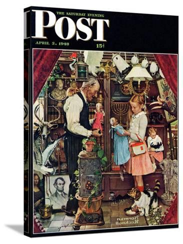 """""""April Fool, 1948"""" Saturday Evening Post Cover, April 3,1948-Norman Rockwell-Stretched Canvas Print"""