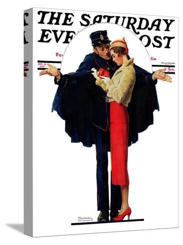 """""""Lost in Paris"""" or """"Boulevard Haussmann"""" Saturday Evening Post Cover, January 30,1932-Norman Rockwell-Stretched Canvas Print"""