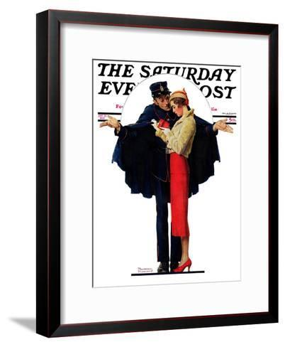 """""""Lost in Paris"""" or """"Boulevard Haussmann"""" Saturday Evening Post Cover, January 30,1932-Norman Rockwell-Framed Art Print"""