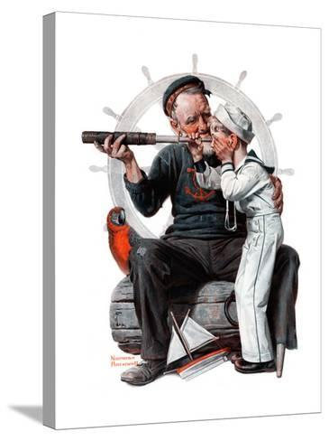 """""""Setting One's Sights"""" or """"Ship Ahoy"""", August 19,1922-Norman Rockwell-Stretched Canvas Print"""