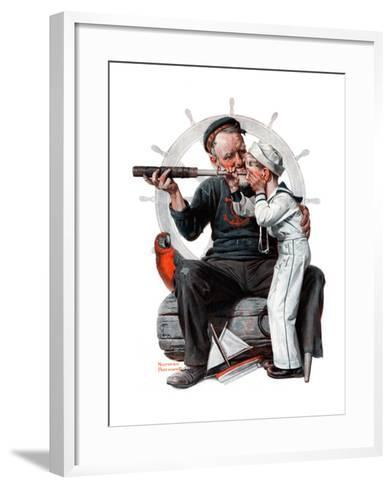 """""""Setting One's Sights"""" or """"Ship Ahoy"""", August 19,1922-Norman Rockwell-Framed Art Print"""