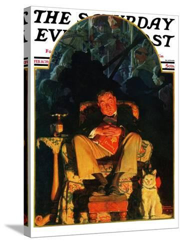 """Dreams"" Saturday Evening Post Cover, February 16,1929-Norman Rockwell-Stretched Canvas Print"