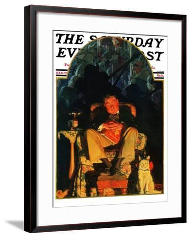 """Dreams"" Saturday Evening Post Cover, February 16,1929-Norman Rockwell-Framed Art Print"