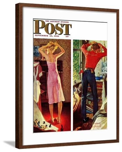 """""""Before the Date"""" Saturday Evening Post Cover, September 24,1949-Norman Rockwell-Framed Art Print"""