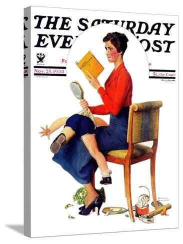 """""""Child Psychology"""" or """"Spanking"""" Saturday Evening Post Cover, November 25,1933-Norman Rockwell-Stretched Canvas Print"""