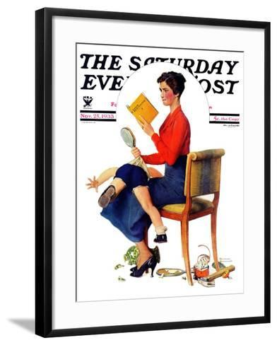 """""""Child Psychology"""" or """"Spanking"""" Saturday Evening Post Cover, November 25,1933-Norman Rockwell-Framed Art Print"""