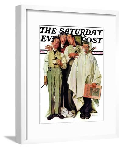 """Barbershop Quartet"" Saturday Evening Post Cover, September 26,1936-Norman Rockwell-Framed Art Print"