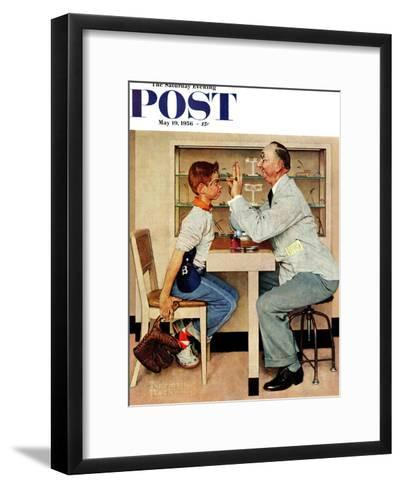 """""""At the Optometrist"""" or """"Eye Doctor"""" Saturday Evening Post Cover, May 19,1956-Norman Rockwell-Framed Art Print"""