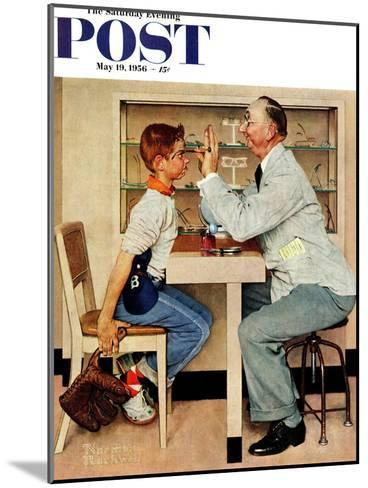 """""""At the Optometrist"""" or """"Eye Doctor"""" Saturday Evening Post Cover, May 19,1956-Norman Rockwell-Mounted Giclee Print"""