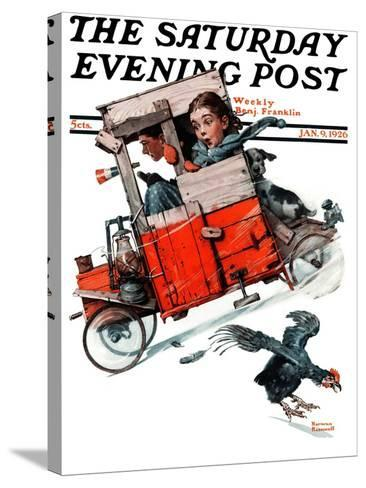 """Look Out Below"" or ""Downhill Daring"" Saturday Evening Post Cover, January 9,1926-Norman Rockwell-Stretched Canvas Print"