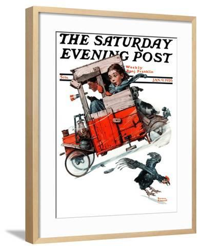 """Look Out Below"" or ""Downhill Daring"" Saturday Evening Post Cover, January 9,1926-Norman Rockwell-Framed Art Print"