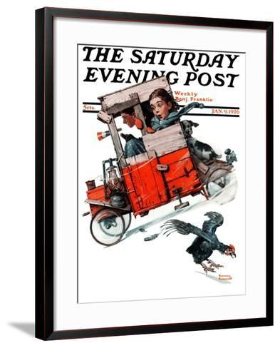 """""""Look Out Below"""" or """"Downhill Daring"""" Saturday Evening Post Cover, January 9,1926-Norman Rockwell-Framed Art Print"""