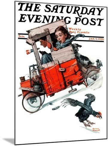 """Look Out Below"" or ""Downhill Daring"" Saturday Evening Post Cover, January 9,1926-Norman Rockwell-Mounted Giclee Print"