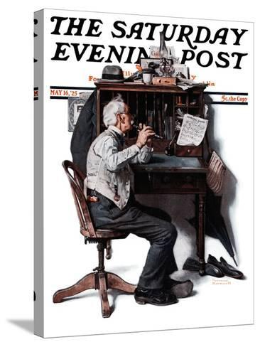 """""""Flutist"""" or """"Spring Song"""" Saturday Evening Post Cover, May 16,1925-Norman Rockwell-Stretched Canvas Print"""