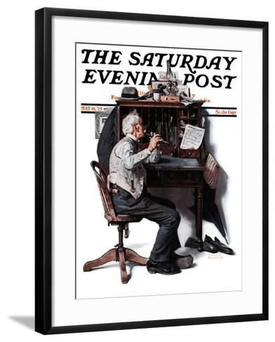 """""""Flutist"""" or """"Spring Song"""" Saturday Evening Post Cover, May 16,1925-Norman Rockwell-Framed Art Print"""