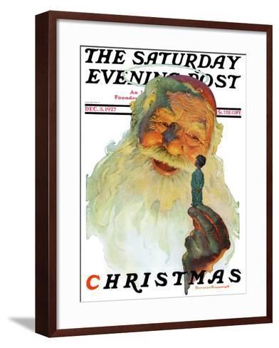"""Christmas, 1927"" (King Kong Santa) Saturday Evening Post Cover, December 3,1927-Norman Rockwell-Framed Art Print"