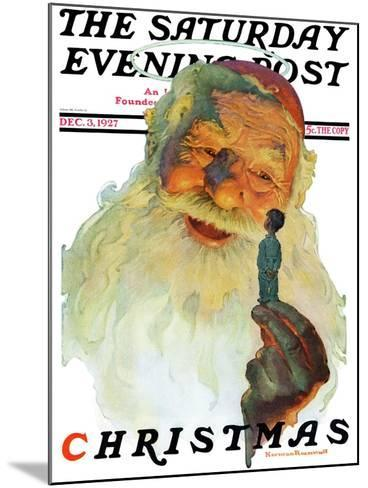 """""""Christmas, 1927"""" (King Kong Santa) Saturday Evening Post Cover, December 3,1927-Norman Rockwell-Mounted Giclee Print"""