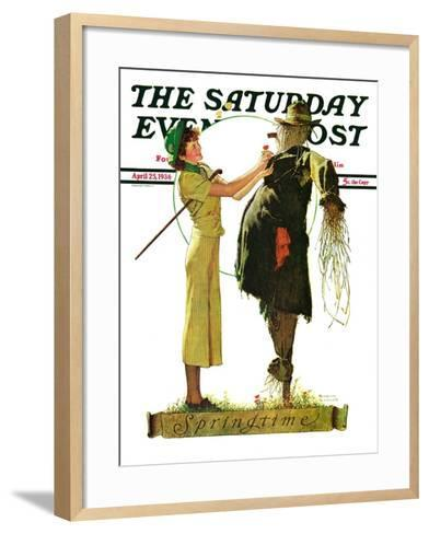 """Springtime, 1936"" Saturday Evening Post Cover, April 25,1936-Norman Rockwell-Framed Art Print"