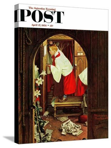 """""""Choirboy"""" Saturday Evening Post Cover, April 17,1954-Norman Rockwell-Stretched Canvas Print"""