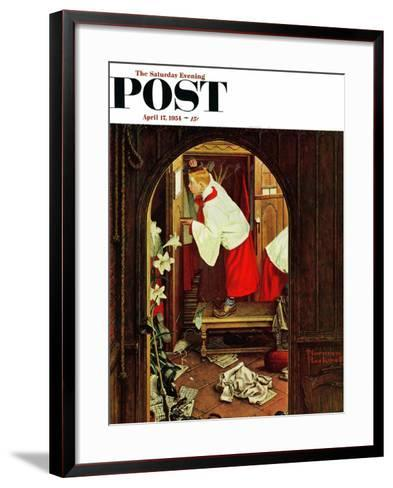 """""""Choirboy"""" Saturday Evening Post Cover, April 17,1954-Norman Rockwell-Framed Art Print"""