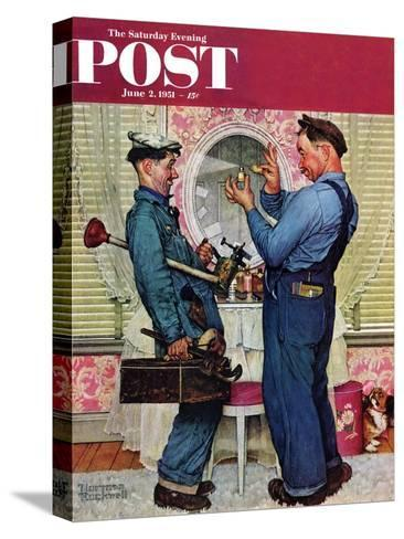 """""""Plumbers"""" Saturday Evening Post Cover, June 2,1951-Norman Rockwell-Stretched Canvas Print"""