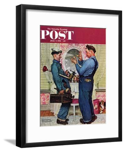 """""""Plumbers"""" Saturday Evening Post Cover, June 2,1951-Norman Rockwell-Framed Art Print"""